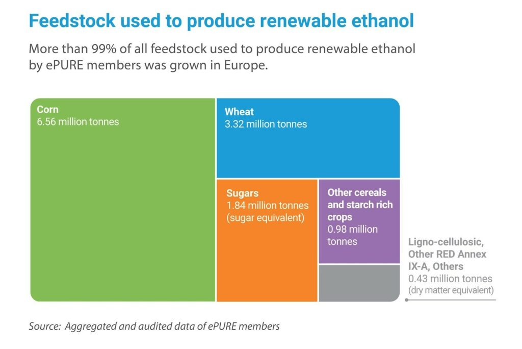 Key figures 2019: Feedstock used to produce renewable ethanol