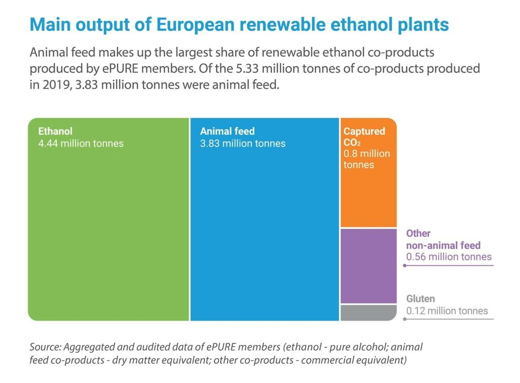 Key figures 2019: Main output of European renewable ethanol plants