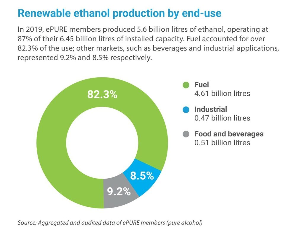 Key figures 2019: Renewable ethanol production by end-use