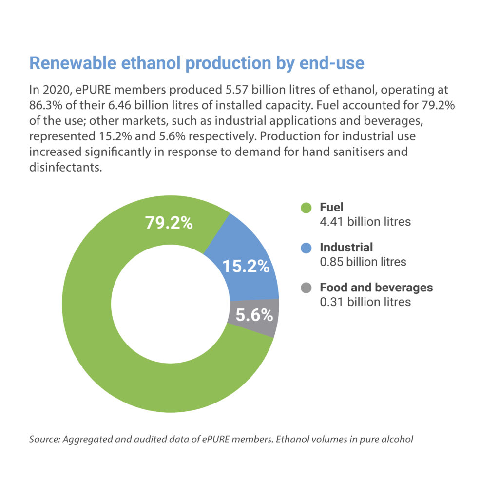 Key figures 2020: Renewable ethanol production by end-use